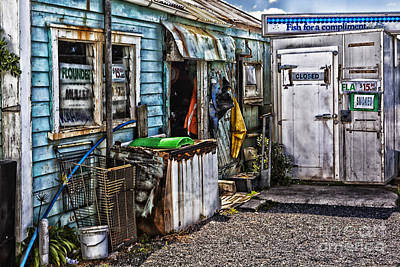 Old Fishing Store At Rawehe Print by Avalon Fine Art Photography