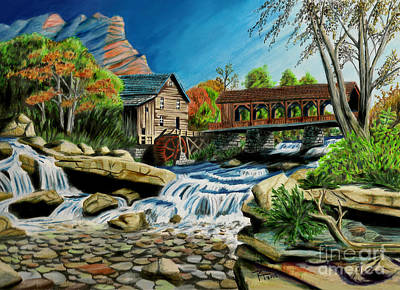 Covered Bridge Drawing - Old Grist Mill by Robert Thornton