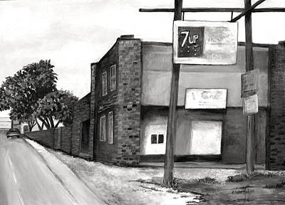 Seven Up Sign Painting - Old Ice House In Black And White by Elaine Hodges