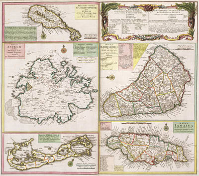 West Indies Drawing - Old Map Of English Colonies In The Caribbean by German School