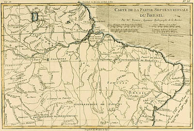 Old Map Of Northern Brazil Print by Guillaume Raynal