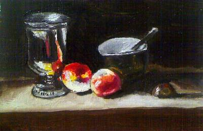 Old Master Still Life Apples And Bowl Print by Dawn marie  Nabong