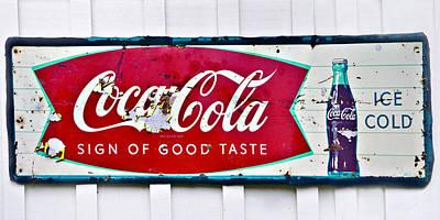 Old Metal Coke Sign Print by Susan Leggett