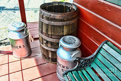 Rain Barrel Photograph - Old Milk Cans And Rain Barrel. by Paul Ward
