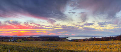 Winery Photograph - Old Mission Sunset by Twenty Two North Photography