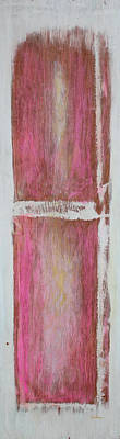 Old Pink Kitchen Door Emanating Light Print by Asha Carolyn Young