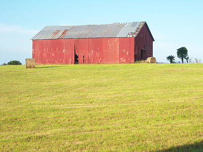 Bail Out Photograph - Old Red Barn by Judy Groves