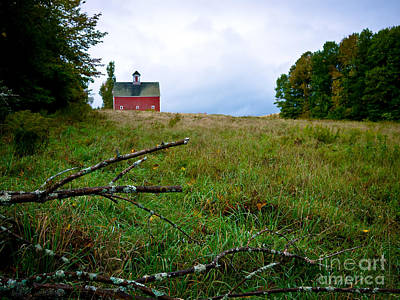 Old Red Barn On The Hill Print by Edward Fielding