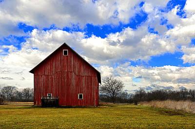 Manger Digital Art - Old Red Barn by Steven Jones
