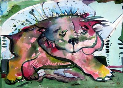 Puppy Mixed Media - Old Red Dog by Mindy Newman