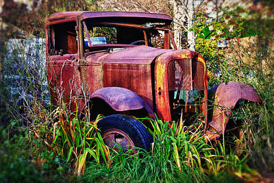 Broken Down Truck Photograph - Old Rusting Truck by Garry Gay
