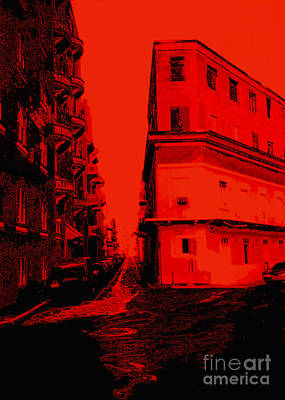 Old San Juan In Red And Black Print by Ann Powell