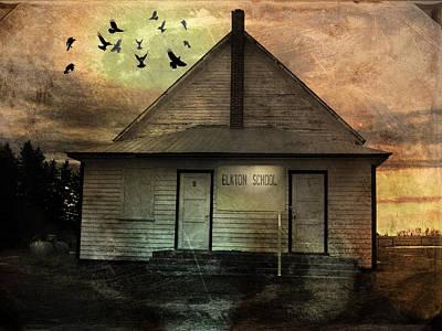 Schoolhouse Mixed Media - Old School by Janet Kearns