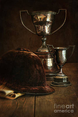 Old Trophies With Equestrian Riding Hat Print by Sandra Cunningham