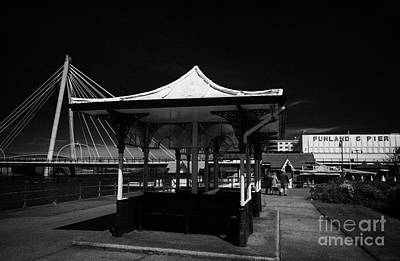 Marine Way Bridge Photograph - Old Victorian Shelter Funland Pier And Marine Way Bridge On Southport Seafront Merseyside England Uk by Joe Fox