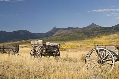 Old Wagons, Foothills, Alberta, Canada Print by Philippe Widling
