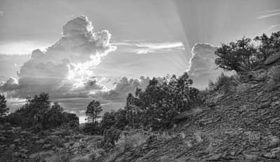 Sun Rays Digital Art - Old West Sunset Bw by Dan Turner