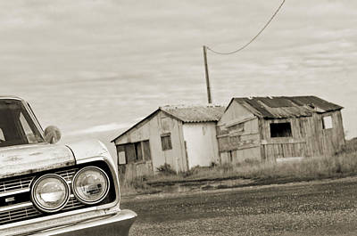 Olds Cutlass 63 Headlights And Huts Bw Print by Philippe Taka