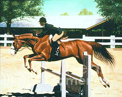 Phil Hopkins Painting - Oliver's Oxer by Phil Hopkins