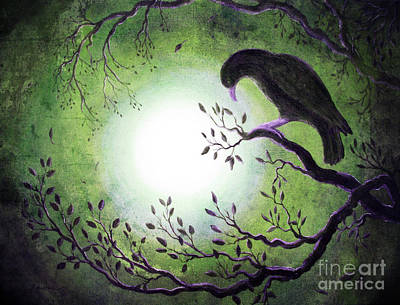 Ominous Bird In Somber Tones Print by Laura Iverson