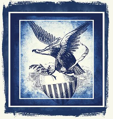 Usa Flag Mixed Media - On Eagles Wings Blue by Angelina Vick