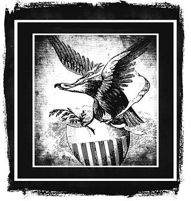 American Flag Mixed Media - On Eagles Wings Bw by Angelina Vick