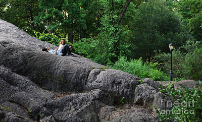 On The Rocks In Central Park Print by Lee Dos Santos