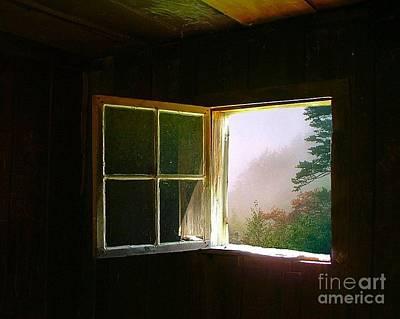 Log Cabin Photograph - Open Cabin Window In Spring by Julie Dant