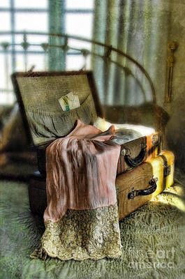 Bed Quilts Photograph - Open Vintage Suitcase With Letter And Lace by Jill Battaglia