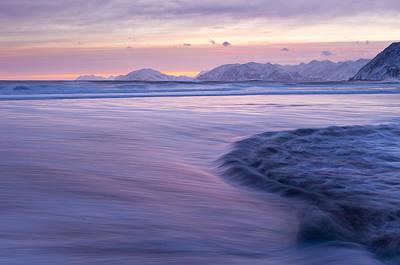 Opposing Waves At Sunset Print by Tim Grams