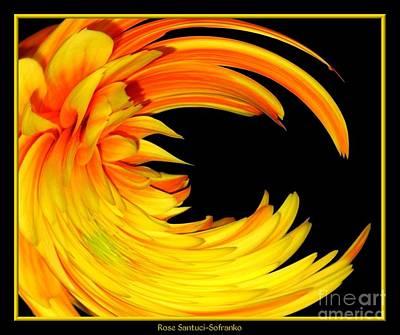 Special Effects Photograph - Orange Gerbera Daisy Warp by Rose Santuci-Sofranko