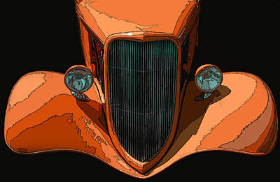 Orange Jalopy Print by Samuel Sheats