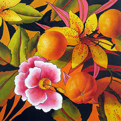 Orange Lily And Hibiscus Print by Marina Petro