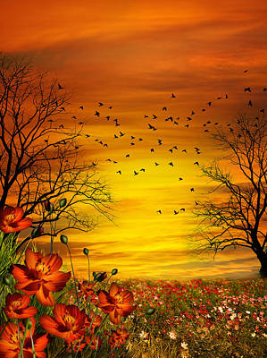 Orange Meadow Montage Print by Julie L Hoddinott