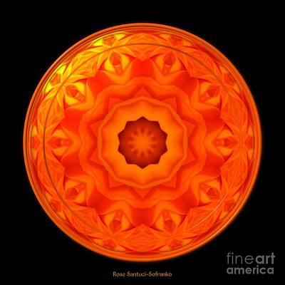 Romance Photograph - Orange Rose Kaleidoscope Under Glass by Rose Santuci-Sofranko