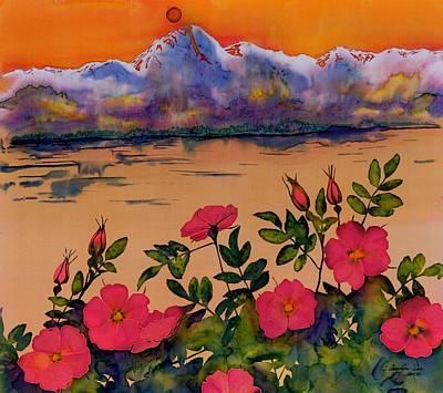 Orange Sun Over Wild Roses Original by Carolyn Doe