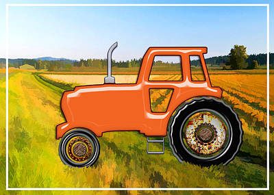 Education Painting - Orange Tractor Time In The Fields  by Elaine Plesser