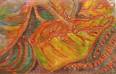 Orange You Glad I Painted Orange Leaf Print by Anne-Elizabeth Whiteway