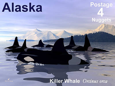 Orca Digital Art - Orca Postage by David Devoe