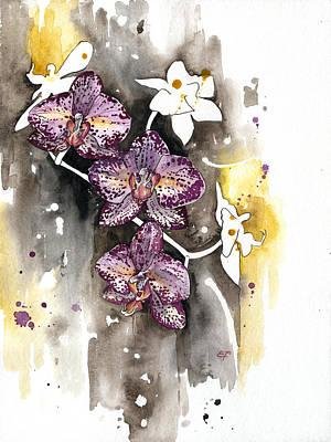 Orchid 13 Elena Yakubovich Print by Elena Yakubovich