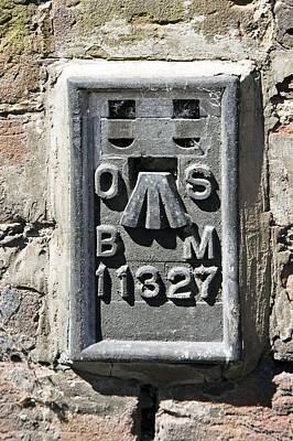 Benchmark Photograph - Ordnance Survey Benchmark, Uk by Sheila Terry