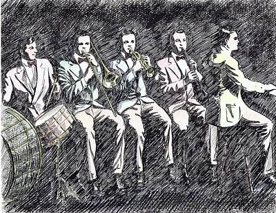 Trombone Drawing - Original Dixieland Jazz Band by Mel Thompson