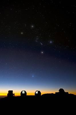 Hawaii Dog Photograph - Orion And Observatories, Hawaii by David Nunuk