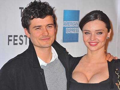 Orlando Bloom, Miranda Kerr At Arrivals Print by Everett
