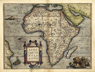Ortelius's Map Of Africa, 1570 Print by Library Of Congress, Geography And Map Division