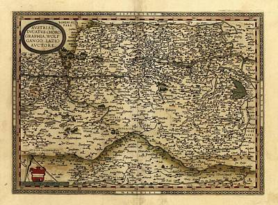 Ortelius's Map Of Austria, 1570 Print by Library Of Congress, Geography And Map Division