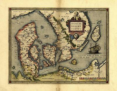 Ortelius's Map Of Denmark, 1570 Print by Library Of Congress, Geography And Map Division