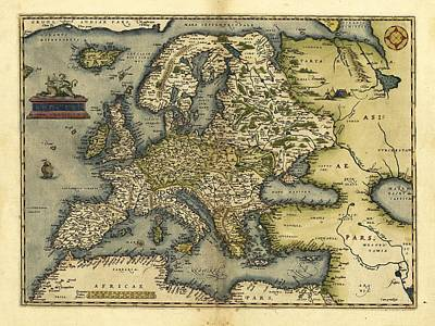 Ortelius's Map Of Europe, 1570 Print by Library Of Congress, Geography And Map Division