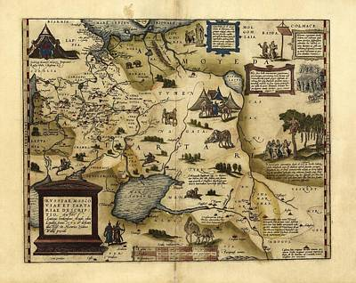 Ortelius's Map Of European Russia, 1570 Print by Library Of Congress, Geography And Map Division