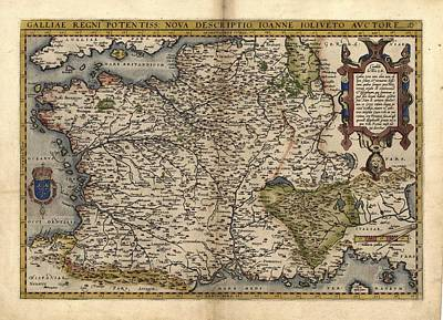 Ortelius's Map Of France, 1570 Print by Library Of Congress, Geography And Map Division